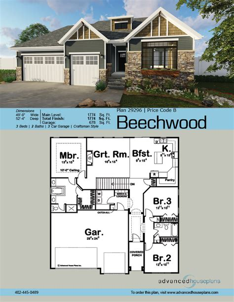 Advanced House Plans by Beechwood Cottage Style Ranch By Advanced House Plans