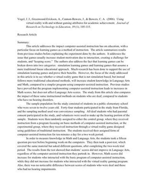 example of research article critique in apa format