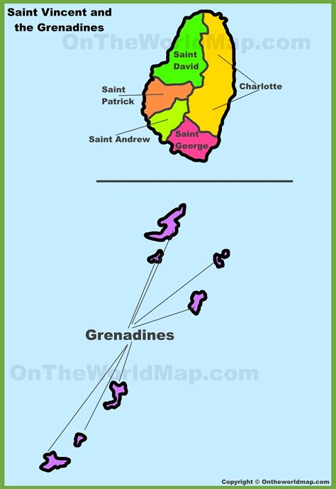 map st vincent and the grenadines administrative divisions map of vincent and the