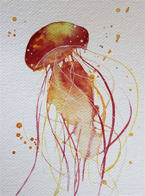 watercolor tattoo orange county cool orange watercolor jellyfish design