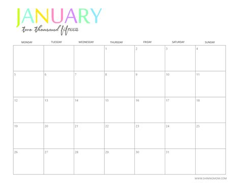 January 2015 Calendar Free Printable January 2015 Calendar New Calendar