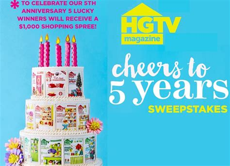 Hgtv Magazine Sweepstakes - hgtv magazine 5th anniversary 1 000 cash sweepstakes sweepstakesbible