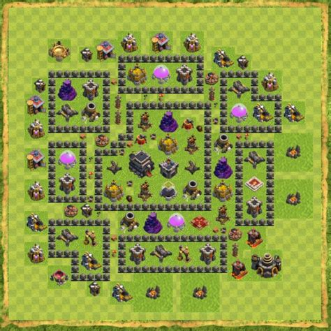 jenis layout coc gambar base town hall 9 hybrid clash of clans terbaik