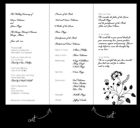layout wedding program table numbers menu cards wedding ceremony program etc