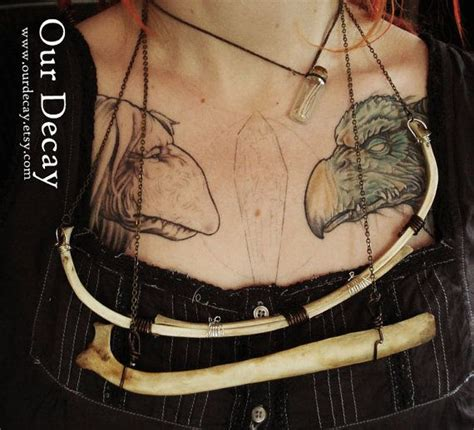 dark crystal tattoo doubled two deer ribs real bone necklace with wire