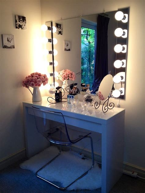 bedroom makeup vanity with lights diy vanity mirror from scratch and dresser homestylediary