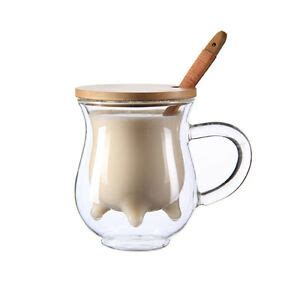 Glass Cup With Lid Spoon wall clear glass wood spoon lid coffee cup mug milk