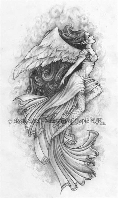 grey ink angel tattoo design