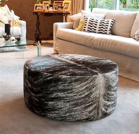 cowhide cocktail ottoman round taupe brindle cowhide ottoman eclectic