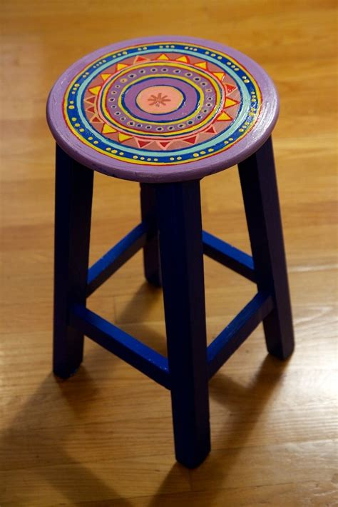 painted colorful stool creative painting on
