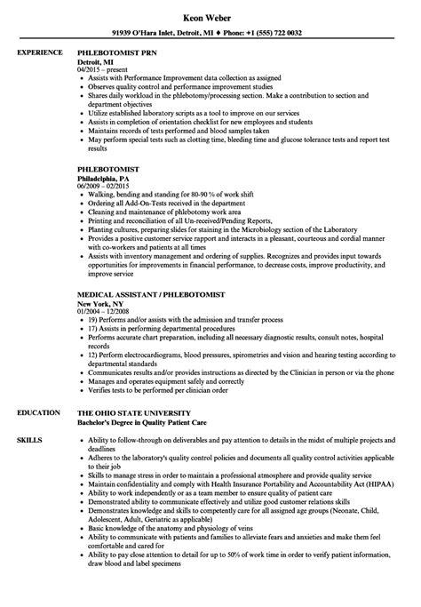 Phlebotomist Resume by Phlebotomist Resume Sles Velvet