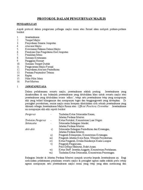 protokol dalam pengurusan majlis
