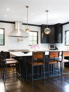 black kitchen island with stools rattan bar stools kitchen transitional with black cabinets