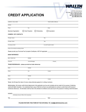 free business credit application template