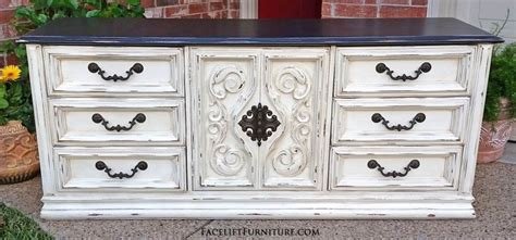White Dresser Brown Top Dressers Painted Glazed Distressed Facelift Furniture