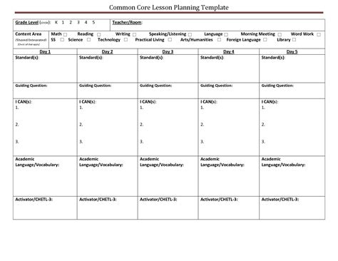 lesson plan template for common common lesson plan template lisamaurodesign
