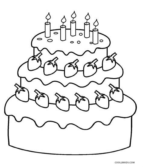 coloring page cake free printable birthday cake coloring pages for