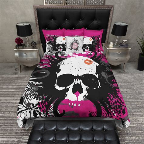 pink black and white bedding hot pink and black kiss skull bedding ink and rags