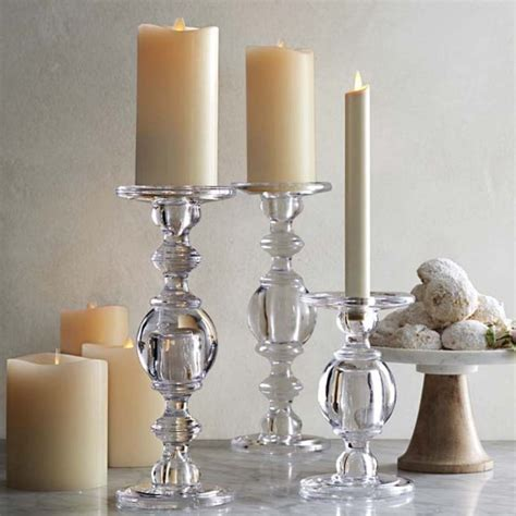 Glass Floor Candle Holders by Classic Glass Candlestick Williams Sonoma