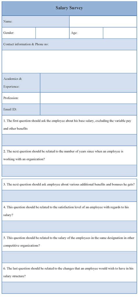 survey template for salary exle of salary survey template sle templates - Salary Survey