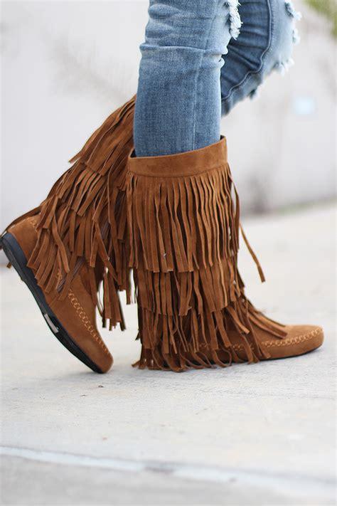 brown fringe boots