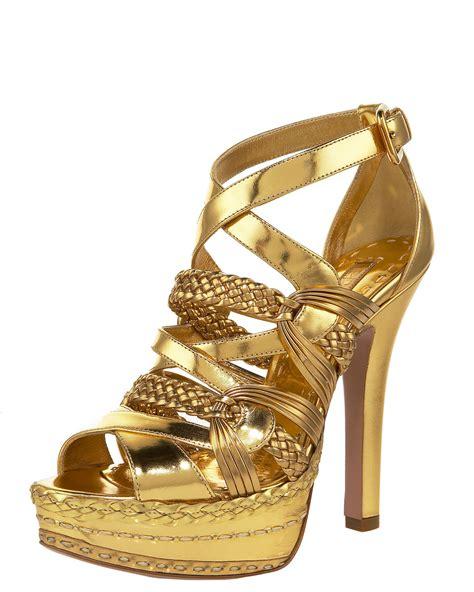 braided sandal prada metallic braided strappy sandal in gold lyst