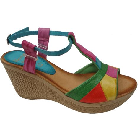 coloured sandals marila womens multi coloured green snake t bar sandals