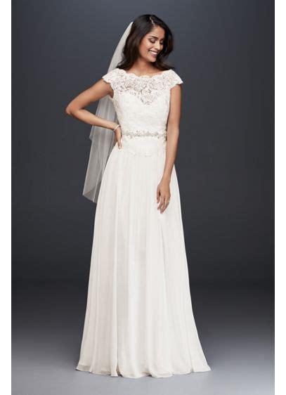 illusion lace  chiffon petite wedding dress davids bridal