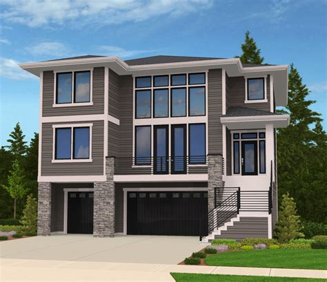 modern house plan for front sloping lot 85102ms 2nd floor master suite bonus room butler