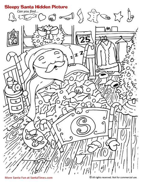 printable christmas hidden picture worksheets sleepy santa hidden picture activity gt more santa fun