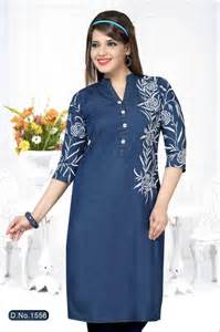 denim straight long embroidered kurti mruga com