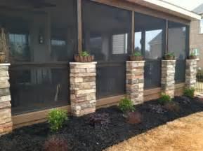 Screen porch with stone veneer columns   Deck pros