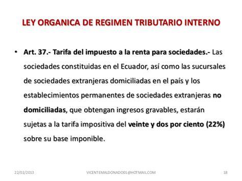 Ley Organica De Regimen Tributario Interno De Ecuador 2015 | exenciones del impuesto a la renta