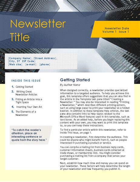 Microsoft Office Newsletter Templates