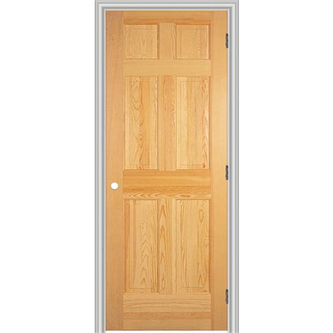 Pre Hung Interior Doors Shop Reliabilt 26 Quot W 6 Panel Solid Wood Left Interior Single Prehung Door At Lowes