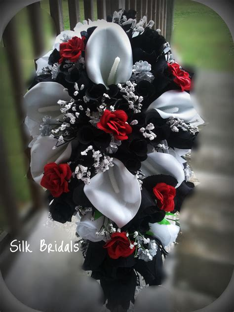 Corsage Black Grey bridal bouquet silk wedding flowers black white silver