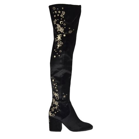 shop velvet embroidered thigh high eros boots at ash