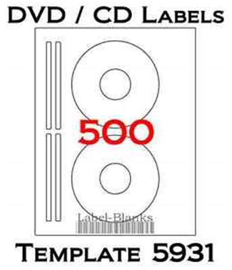 500 Cd Dvd Laser And Ink Jet Labels Template 5931 8931 8692 250 Sheets Ebay Cd Label Template