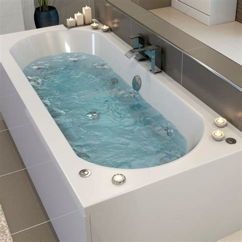whirlpool bath ceramica 1800mm double ended curved bath with 22 jets lights