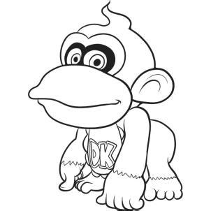 baby donkey coloring page how to draw baby donkey kong step by step video game