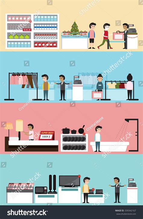 store layout vector flat cartoon department store building interior and layout