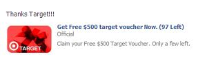 the facebook tips blog scam alert beware of target voucher giveaways on facebook - Target Voucher Gift Card Facebook
