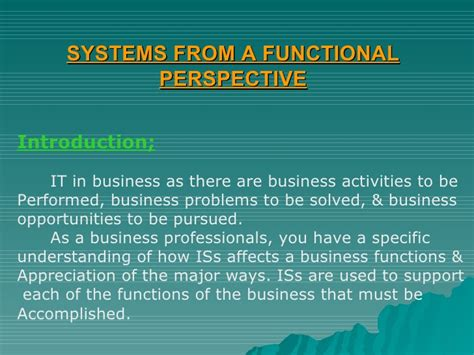 Mba Mis Research Topics by Mba Mis Systems From A Functional Perspective Module 5 Ppt