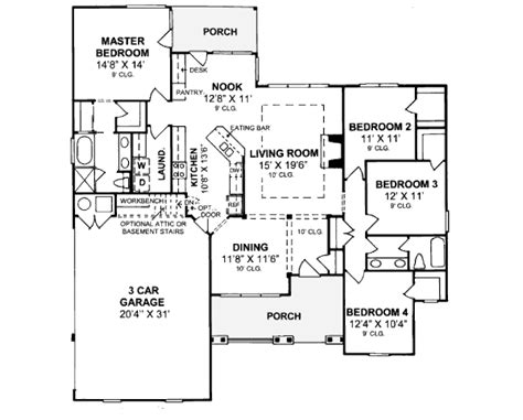 375 square feet country style house plan 4 beds 2 baths 1844 sq ft plan