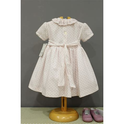 Handmade Smocked Dresses - smocked dress in light pink viyella for baby