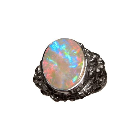 black opal mens ring mens opal ring silver barong lion design opal rings men