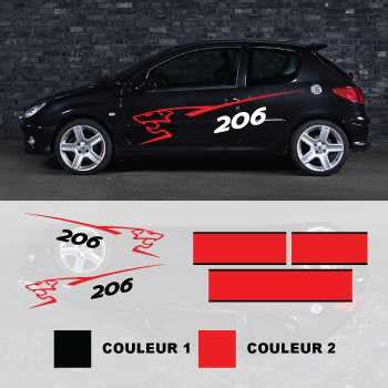 Auto Sticker Peugeot by Kit Stickers Peugeot 206