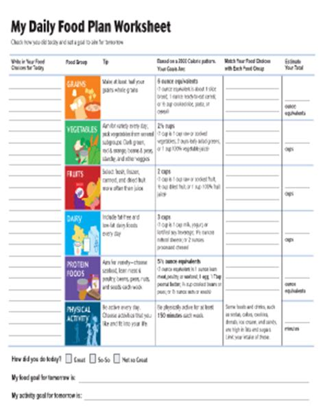 My Daily Food Plan Worksheet by My Daily Plan Fill Printable Fillable Blank