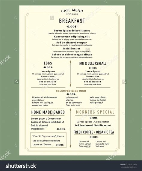 breakfast menu templates free 17 best ideas about vintage menu on menu