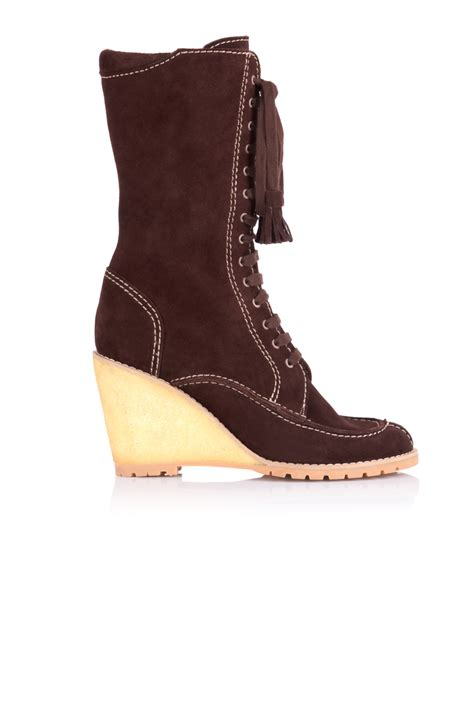 lace up wedge boots see by chlo 233 lace up suede wedge boot in brown lyst